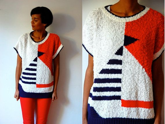 sailboat sweater | Vtg Sailboat Retro Red White Blue Nautical Knitted SS Sweater