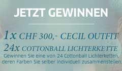 Gewinne mit ein wenig Glück einen stylisches Outfit von Cecil im Wert von CHF 300.- sowie 24 x eine individuell zusammenstllbare Cottonball Lichterkette.