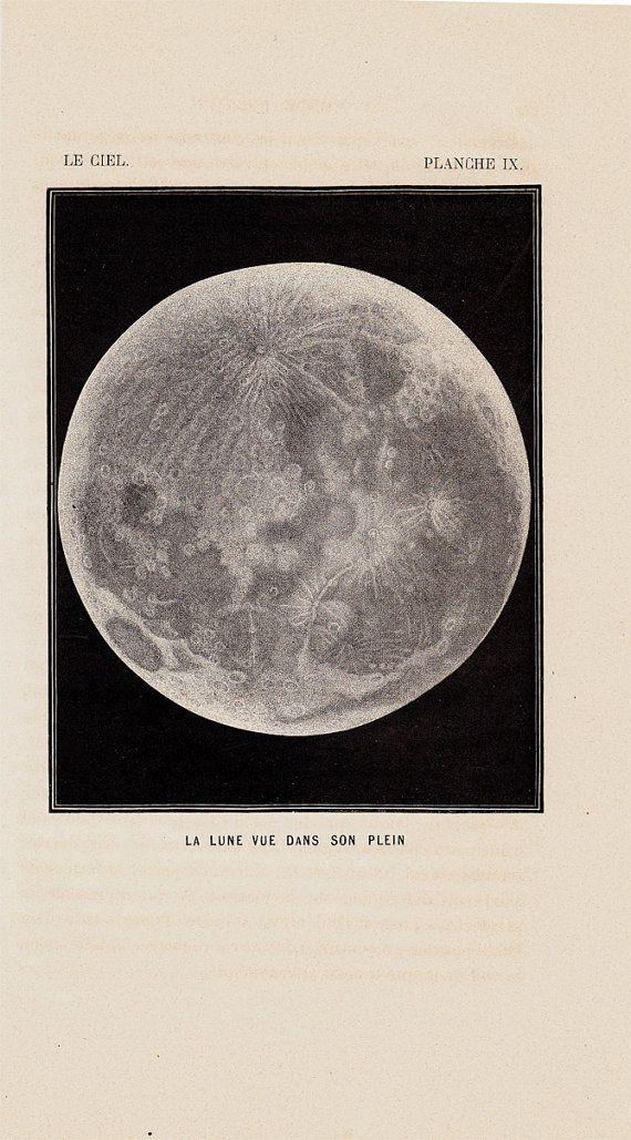 1870 Antique MOON print FULL MOON by TwoCatsAntiquePrints on Etsy, $29.00
