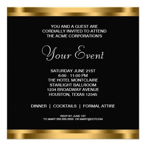 Black white gold black tie corporate party card black white gold company party invitation ideas corporate event invitation templates wajeb Images