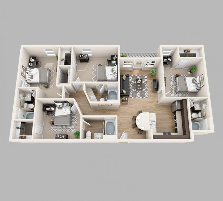 Innovative Manificent 4 Bedroom Apartments Floor Plans ...