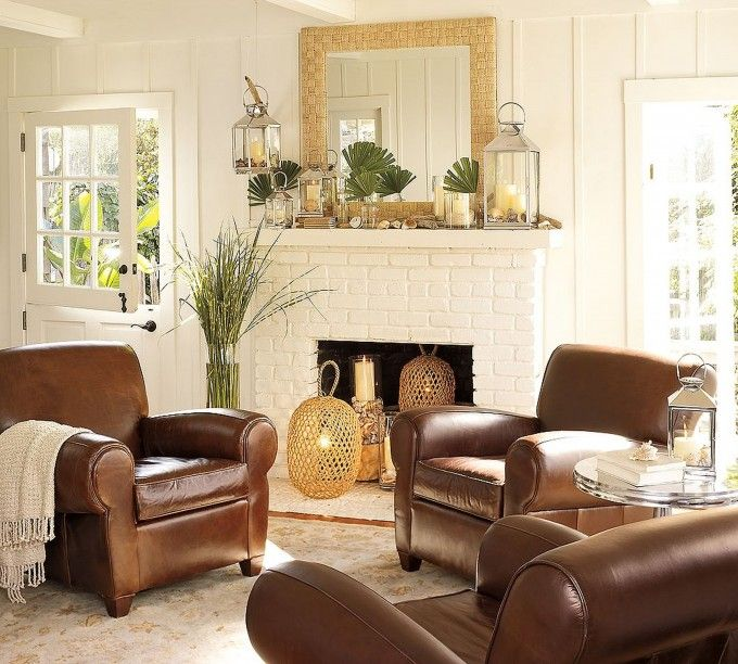 Living room design using pottery barn room planner with fireplace and leather armchair