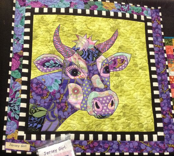 SALE Jersey Girl BJ Designs Cow Quilt Pattern by PincushionParty ... : cow quilt pattern - Adamdwight.com
