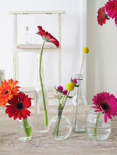 Simple And Modern Flower Arrangement Gerbera Daisies In Bud Vases