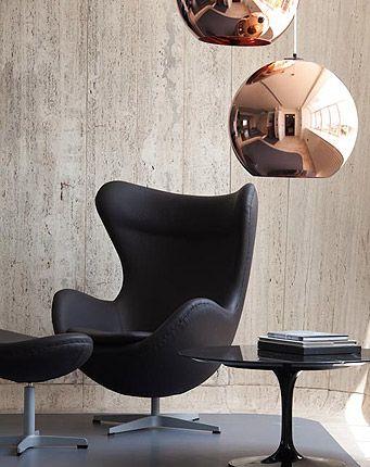 Arne Jacobsen, Eero Saarinen & Tom Dixon... oh and lovely concrete walls too!