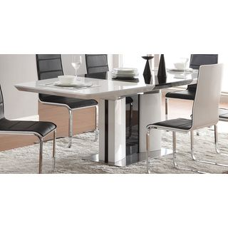 Shop For 6 Seater Ultra Modern White And Black Chrome Finish Dining