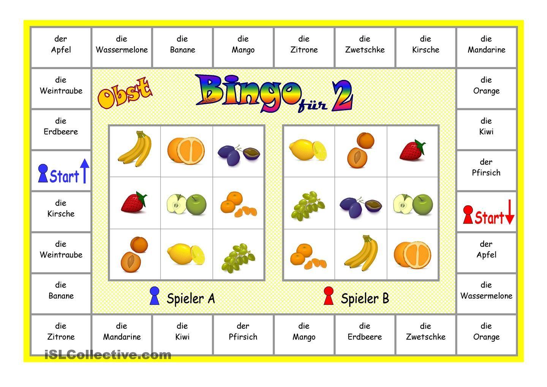 Bingo für 2 Spieler _ Obst | Kinder basteln | Pinterest