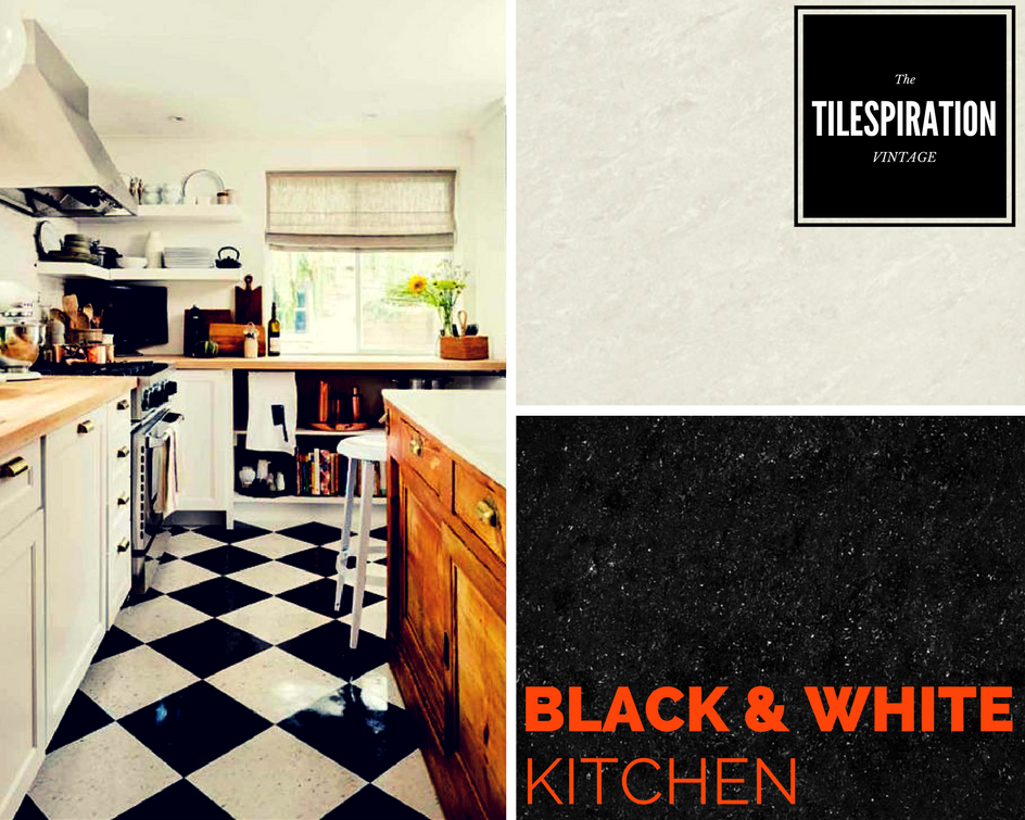 Polished Vitrified Tiles Kajaria Black And White Kitchen Floor