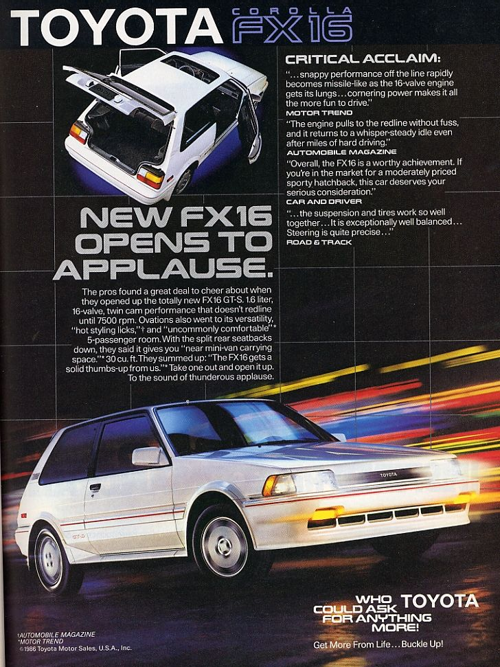 1987 toyota corolla ad i had the gts version of this car very rh pinterest com manual de toyota corolla fx16 gts Toyota Corolla FX Parts