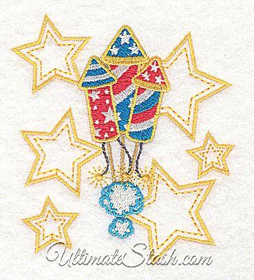 USA Fireworks United States Stars Machine Embroidery Design