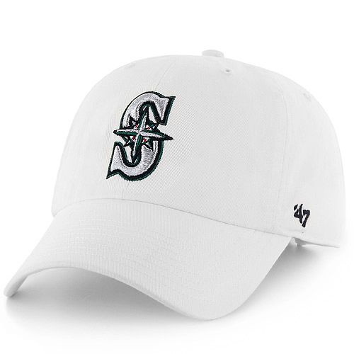 00a9ecc0111 Seattle  Mariners Women s White Clean Up Adjustable Cap by  47 Brand  18.99