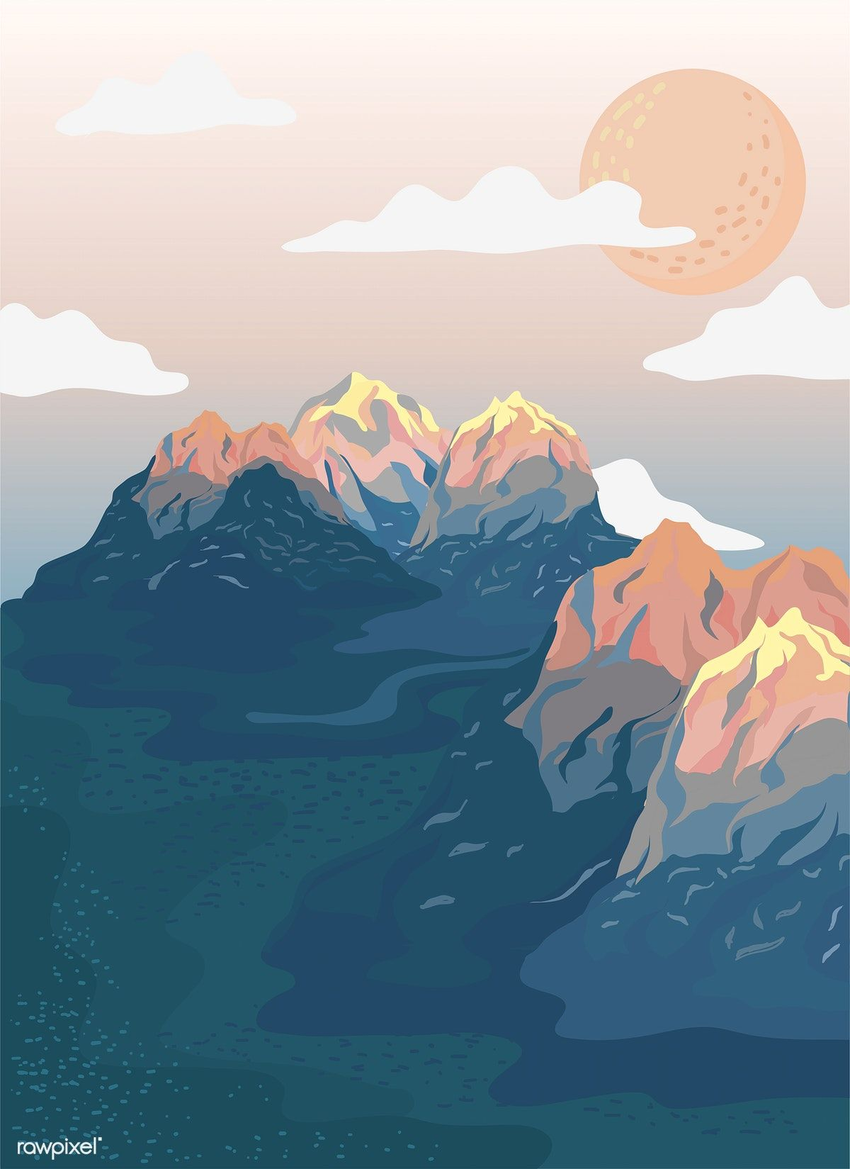 Landscape Illustration Vector Free: Painted Mountain View Landscape Illustration