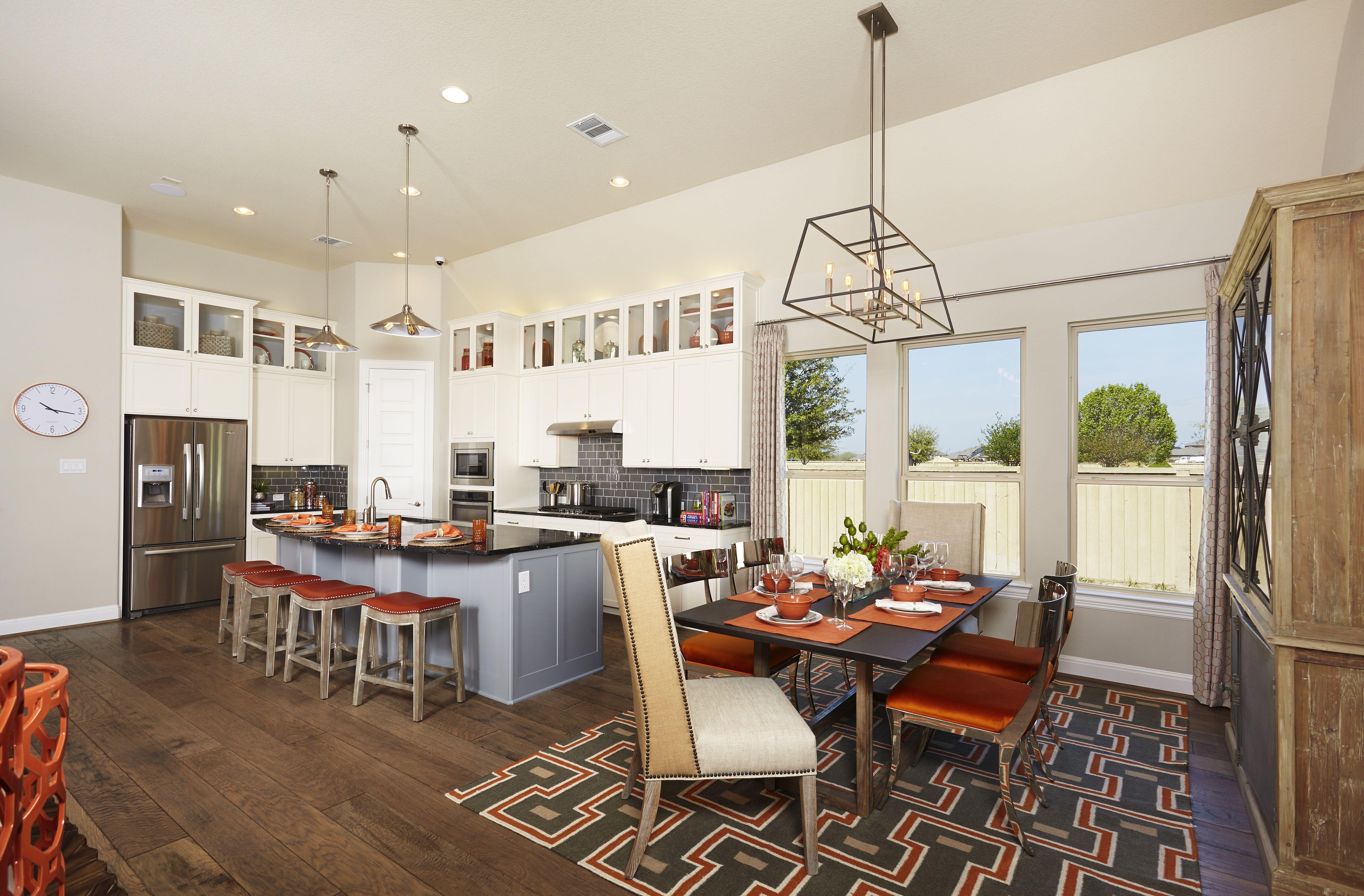 Gehan Homes Kitchen - Grey Subway Tile Backsplash, White Cabinets ...