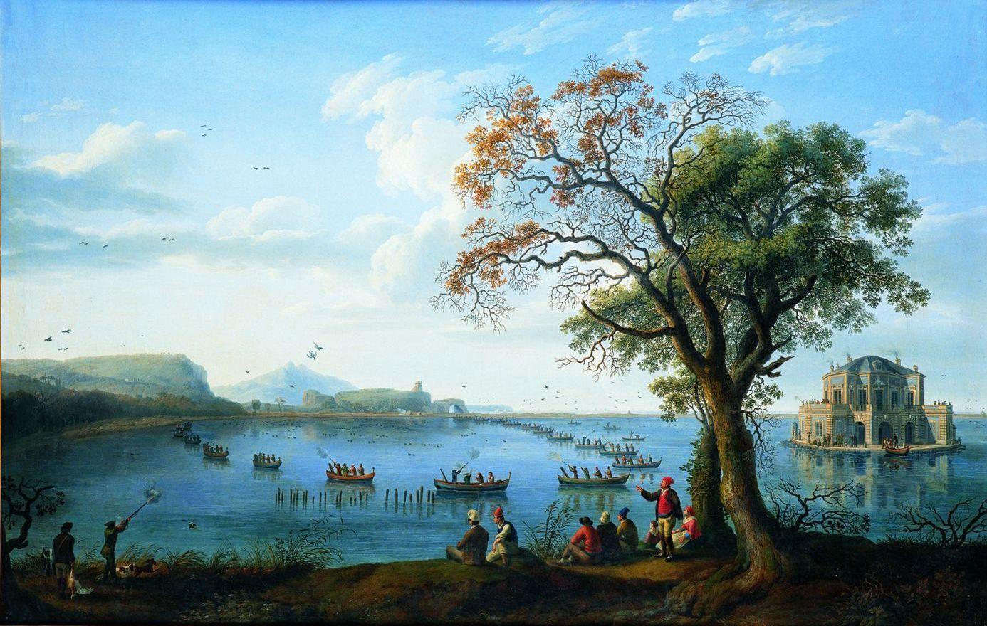 Ferdinando IV a caccia di folaghe sul lago di Fusaro, di Jakob Philipp Hackert  (1737-1807)