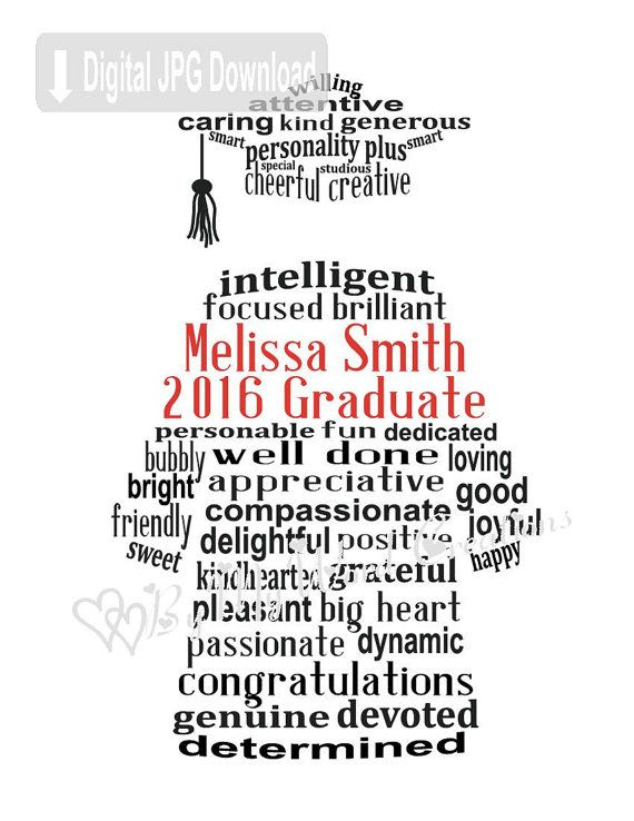 Personalized Graduate Digital Word Art, Cap and Gown Wall
