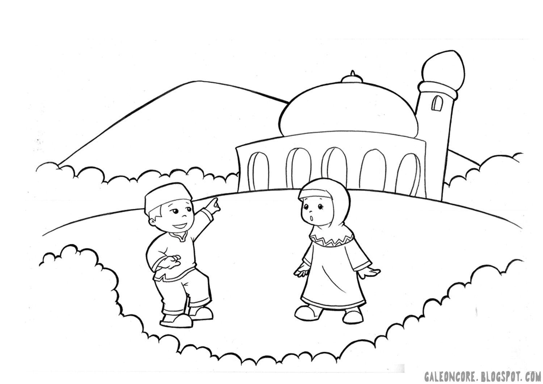 51 a tema anak muslim 02 moslem children mewarna vector 1 500—1 061 pixels
