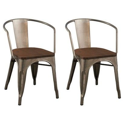 Carlisle Wood Seat Dining Chair Natural Metal Set Of 2 Metal Dining Chairs Dining Chairs Rustic Industrial Dining Chair