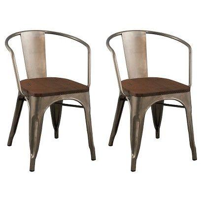 Carlisle Wood Seat Dining Chair Metal Natural Set Of 2 Ace