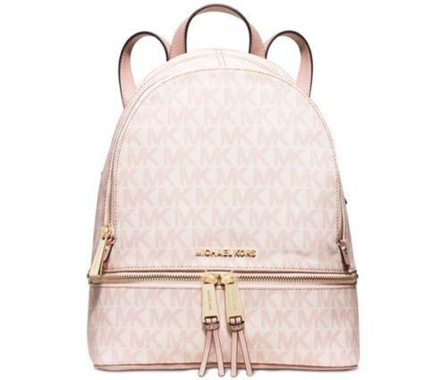 86bb7c9fcc1d57 ... promo code new michael kors rhea small backpack ballet signature gold  beautiful 6d528 adcee