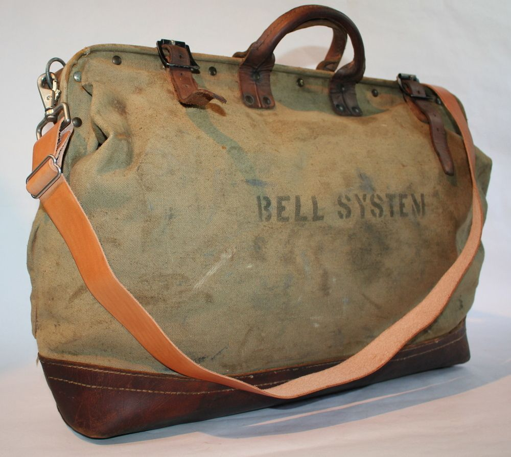 b2574209f8ce Image of Vintage BELL SYSTEM HD Canvas & Leather Tool Bag w/ Shoulder Strap