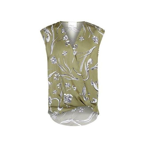 c450356fdfbf0 3.1 Phillip Lim Draped Front Printed Silk Sleeveless Blouse ( 350) ❤ liked  on Polyvore