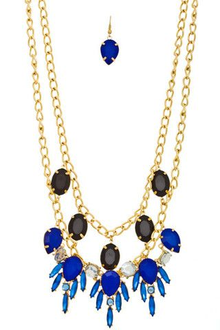 Layered Chain Necklace and Earring Set with Faceted Bead Design – NanoNano