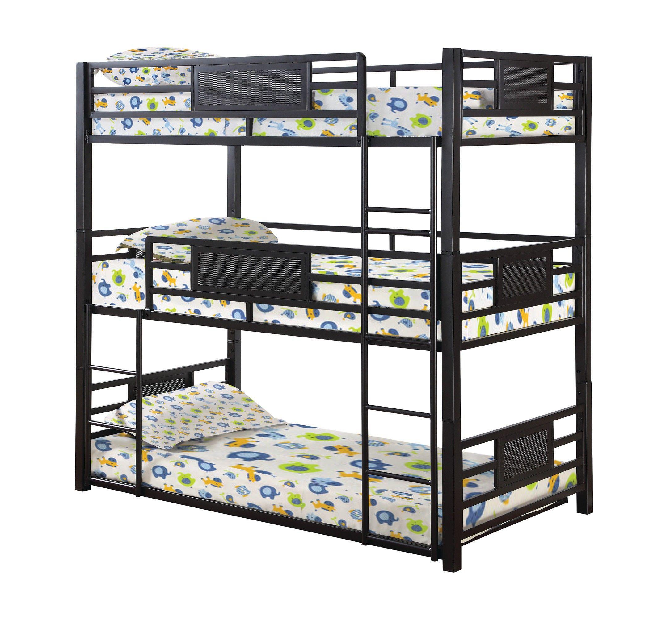 Dark Bronze Rogen Twin Size Triple Bunk Bed Bunk beds