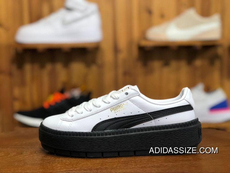 d5cf5e62559d Puma Basket Platform 366109-02 Trace Leather Womens Skateboarding Shoes  White Black New Style