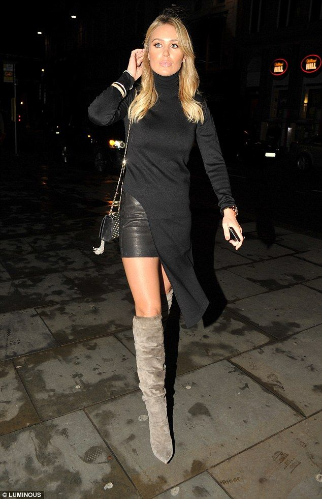 Alex Gerrard cuts a leggy figure in flattering knee-high boots and ...