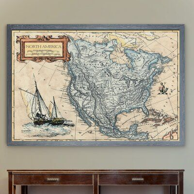 Longshore Tides North America Map-Framed - Featuring a premium giclee print in a solid wood rough-hewn frame. 2 options to choose from framed print: A giclee print with glass and matt board or framed canvas: A giclee print on a canvas without glass each piece comes ready to hang and includes hanging hardware. Solid wood frames fade resistant and more. Format: Gray Framed Canvas, Size: 28