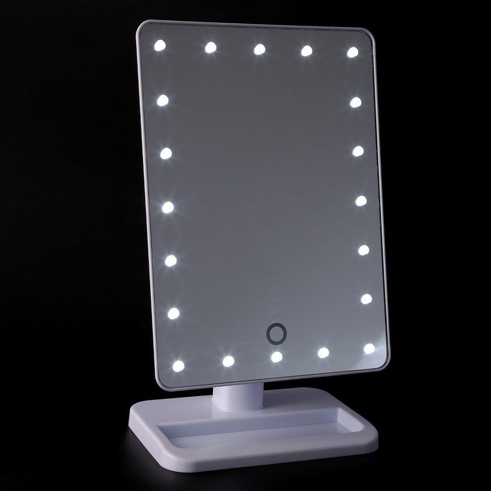 Mesa de espejo de maquillaje con luz port til 20 led de la - Espejos de tocador con luz ...