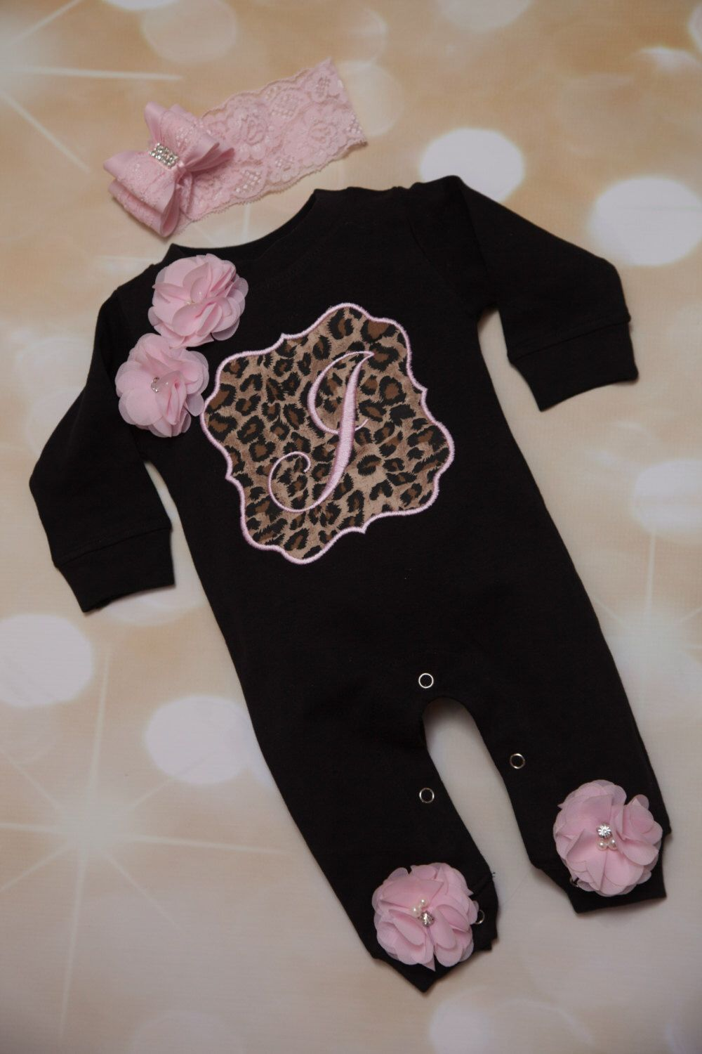 161109a399d Personalized Baby Girl Romper Set Black Embroidered Infant Romper Set with  Beautiful Leopard Frame and Matching