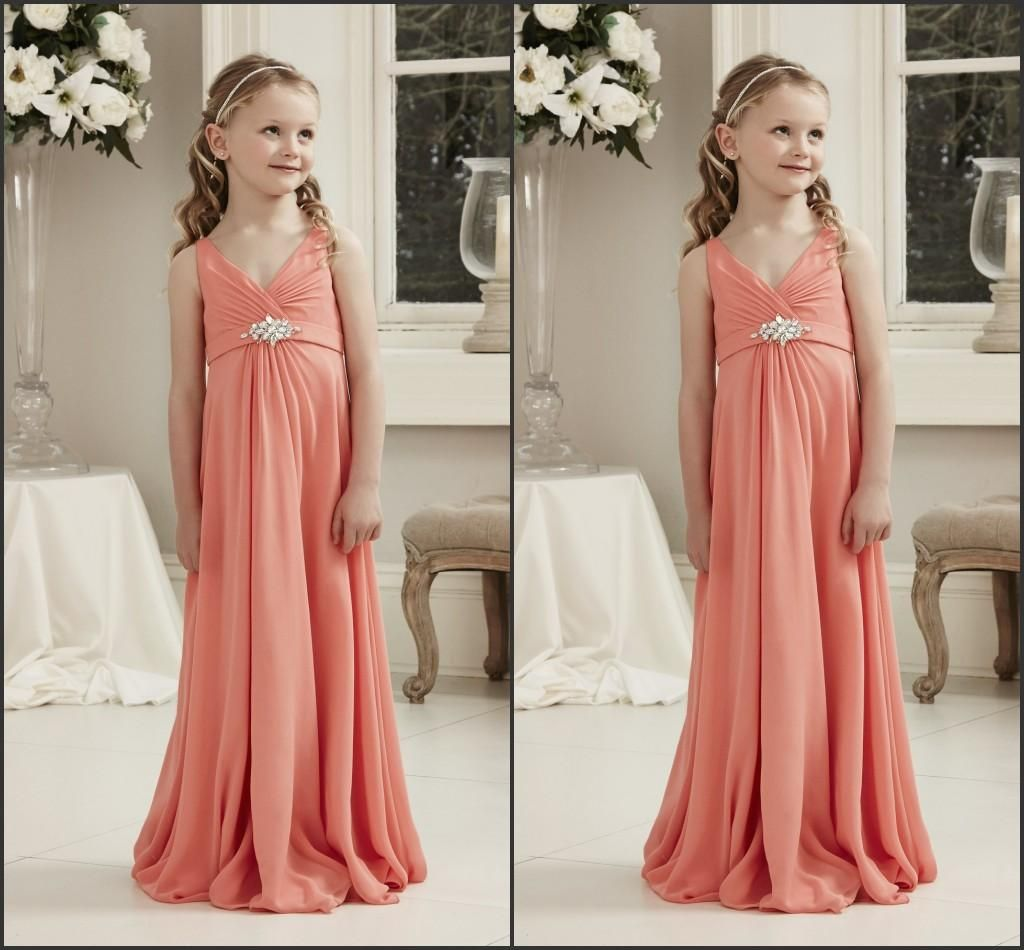 2017 new junior bridesmaids dresses coral chiffon cap sleeve v 2017 new junior bridesmaids dresses coral chiffon cap sleeve v neck pleats draped backless floor length ombrellifo Gallery