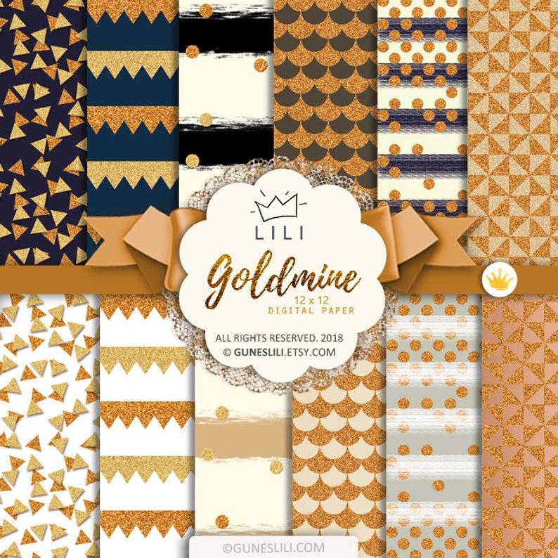 Gold Glitter Confetti Digital Paper - Glitter Texture Gold Background Digital Download JPEG 12x12 Scrapbooking Pages #goldglitterbackground