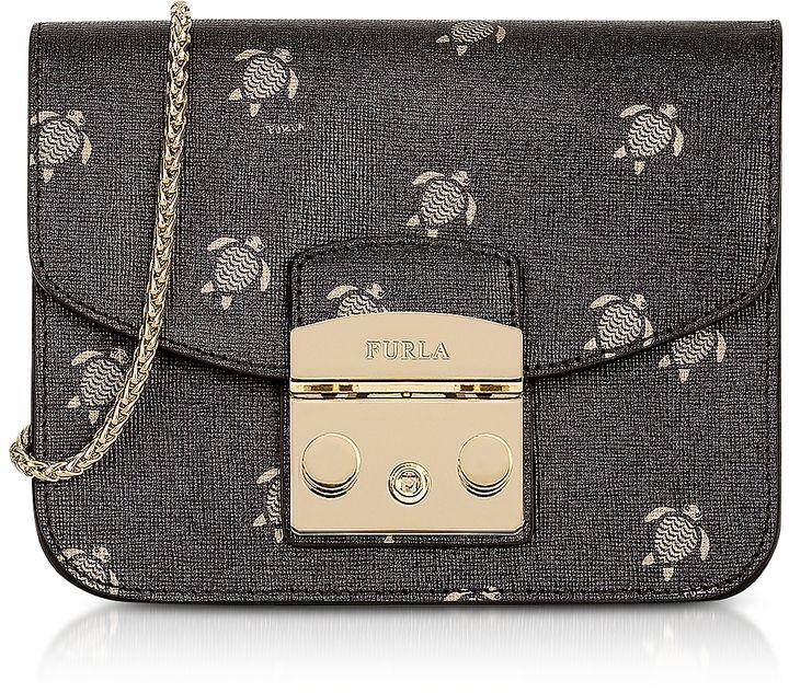 8ab1cdcb3708 Furla Toni Onyx Mini Turtle Printed Saffiano Leather Metropolis Mini  Crossbody Bag. Clutch and pochette