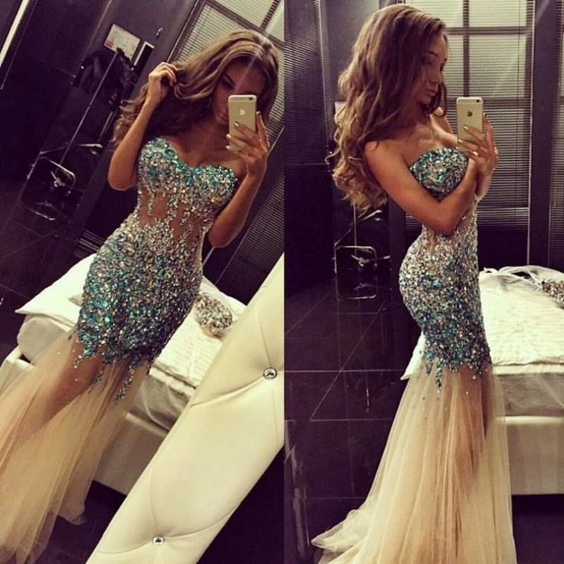 Aliexpress.com : Buy Long Mermaid Glitter Beaded Crystal Prom ...