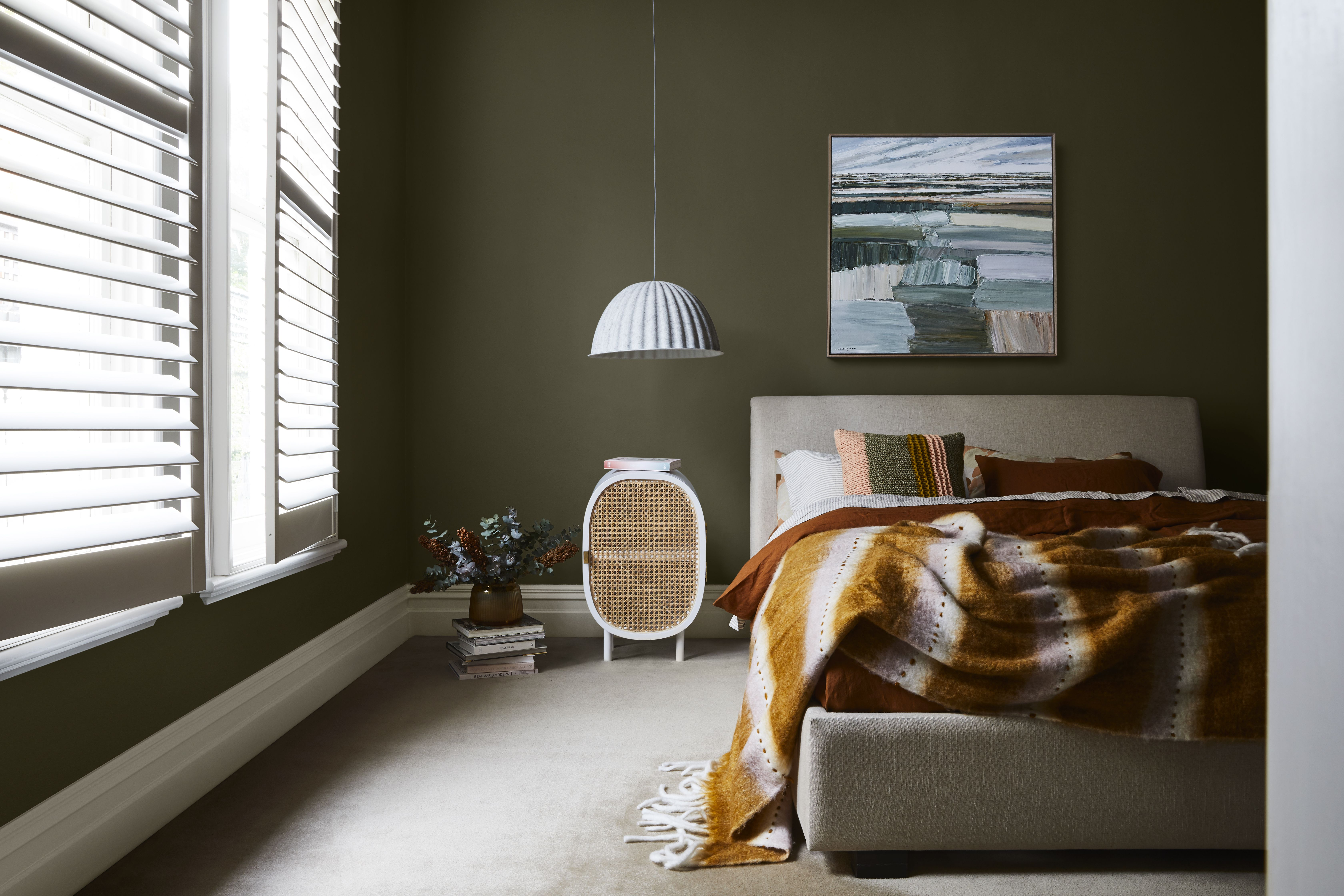green themed bedroom with yellow highlights in 2020 on most popular interior paint colors for 2021 id=64120