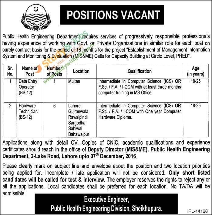 Positions Vacant in Public Health Engineering Department | Jobs In ...