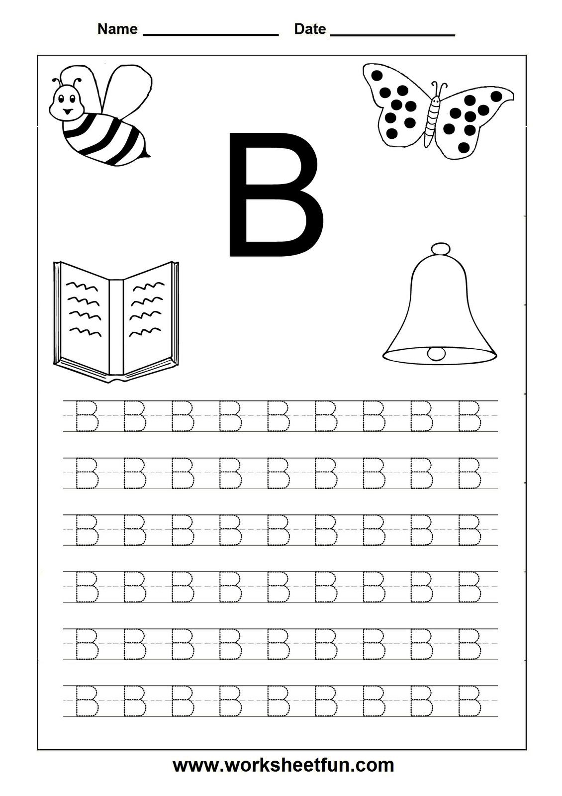 5 Preschool Letter B Tracing Worksheets In