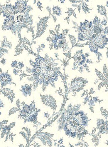 Gorgeous Blue White Jacobean Wallpaper Double Rolls