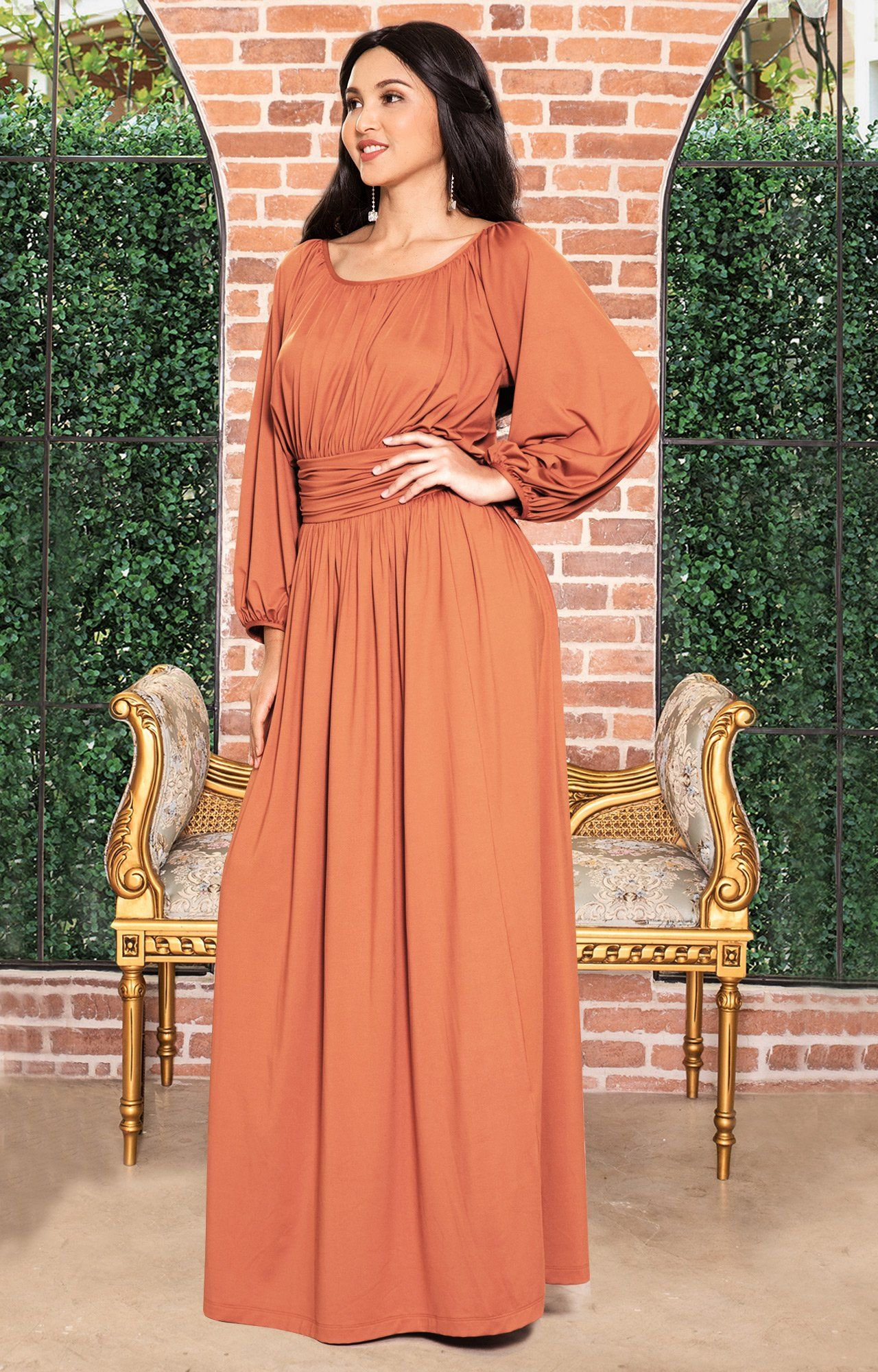 b28c1ba7bcd ... KOH Plus Size Women Long Sleeve Sleeves Vintage Peasant Empire Waist  Fall Loose Flowy Fall Winter Casual Maternity Abaya Gown Gowns Maxi Dress  Dresses ...