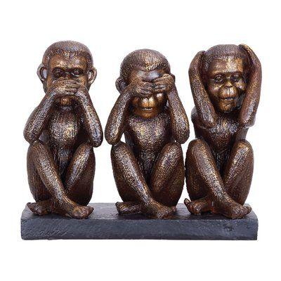 World Menagerie Alfordsville Polystone Monkey Sculpture Sculpture Wise Monkeys Three Wise Monkeys