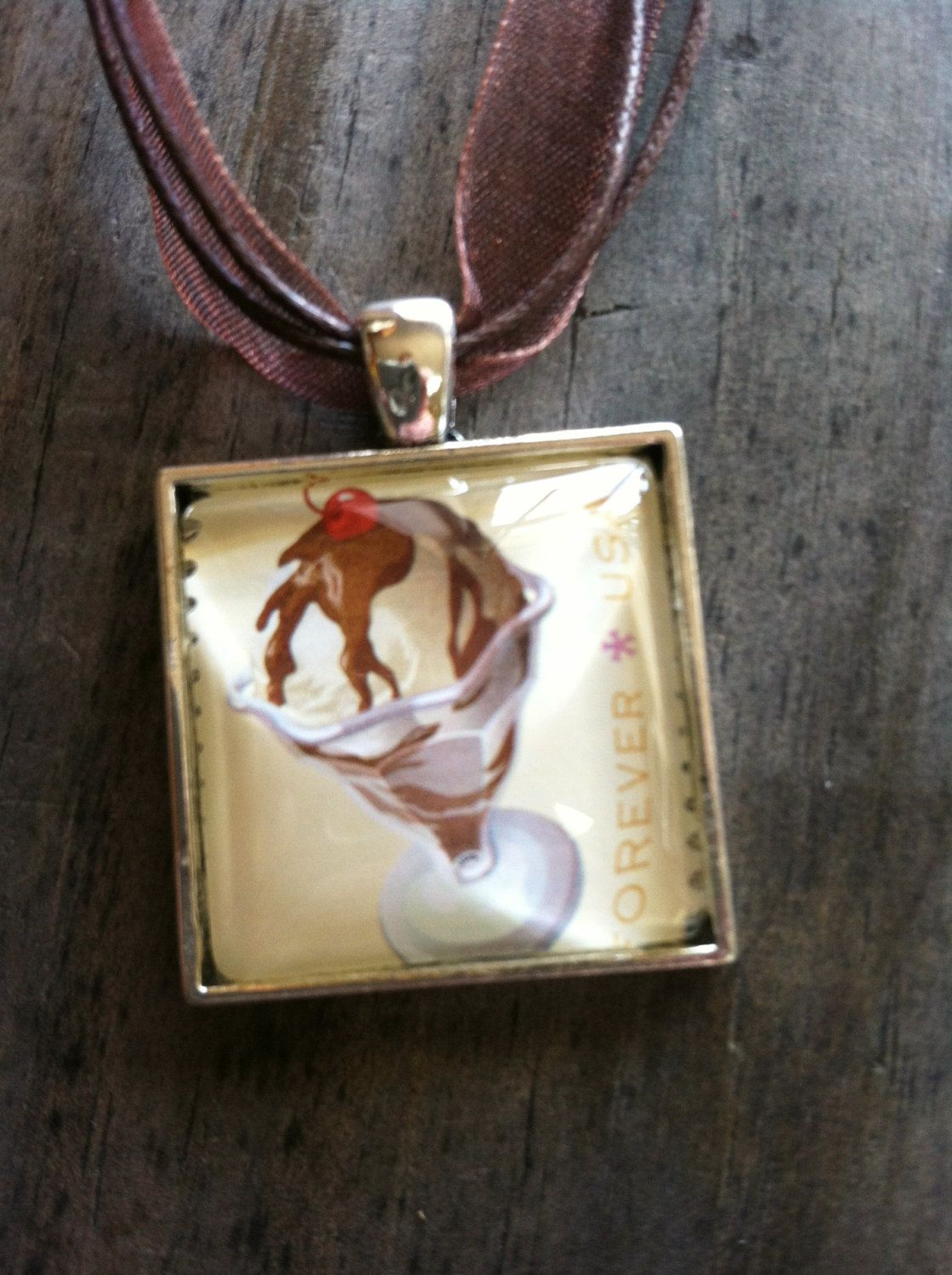 Hot Fudge Sundae Necklace ~  Soda Fountain Favorites ~ Dome Pendant Tray Necklace ~ Postage Stamp Jewelry ~ Forever Stamp ~ Ice Cream Sundae by MichellesVarietyShop on Etsy