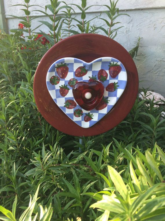 Recycled Plate FlowerHeart Shaped Garden by RECYCLEDCREATIONSART