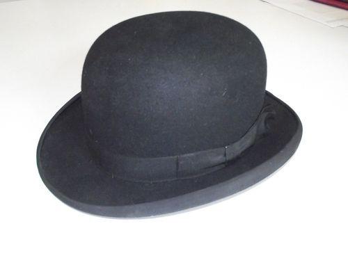 bfec6d8deddb3 Details about Vintage men s Derby hat black Bowler felt 1930 s-40 s ...