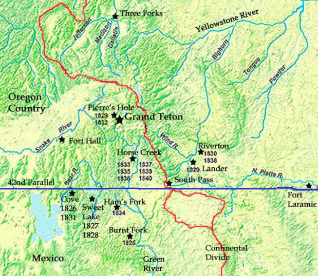 Rocky Mountains Wyoming Map.Rendezvous Sites Rocky Mountain Man Fur Trade Pictures Gps Locations
