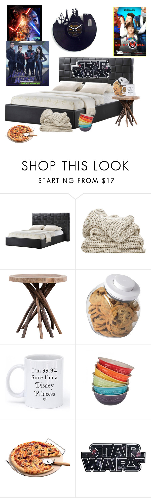 """""""Friki's home"""" by thebionicmutantkickingirl ❤ liked on Polyvore featuring interior, interiors, interior design, home, home decor, interior decorating, OXO, Disney and Le Creuset"""