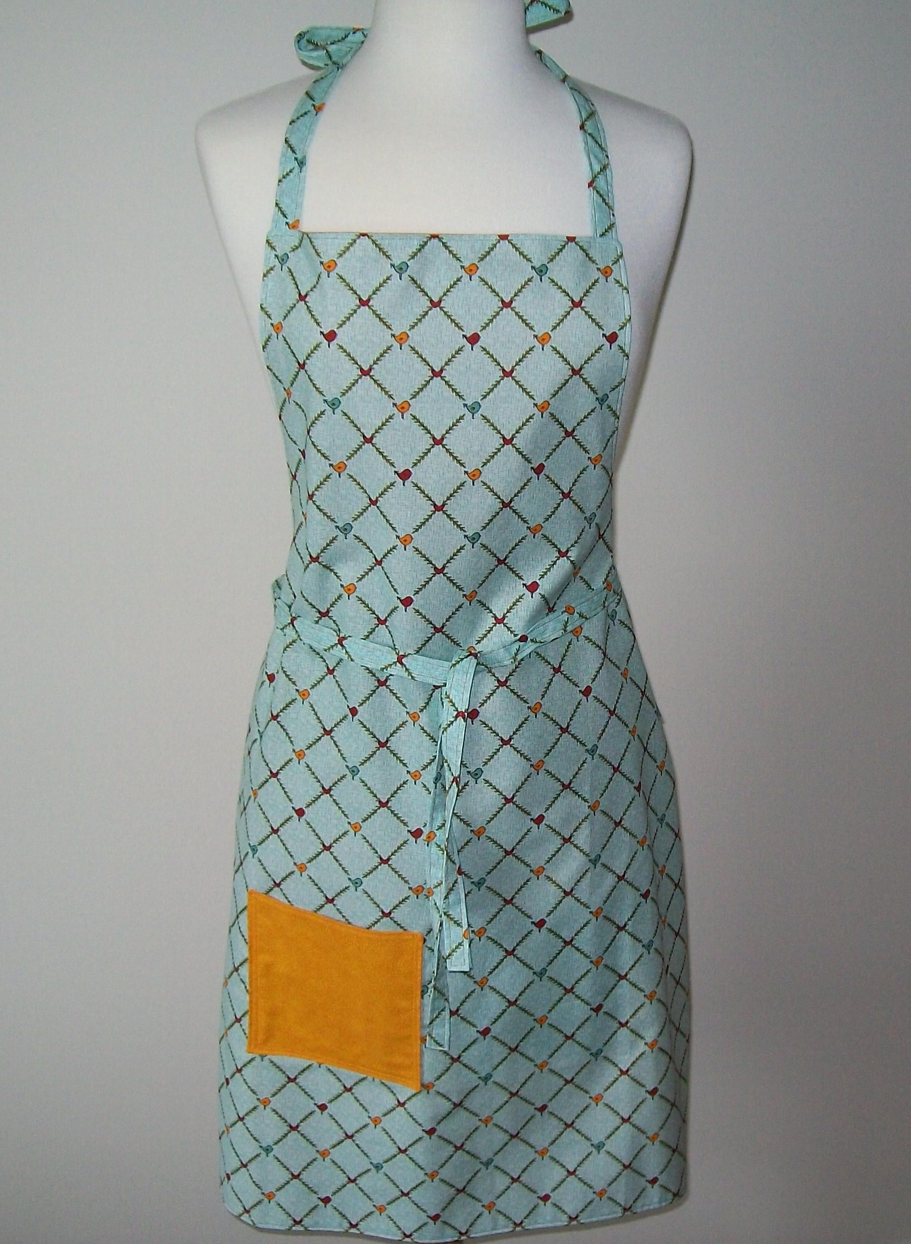 Turquoise Apron - reversible - birds - gold aqua red - full lined ...