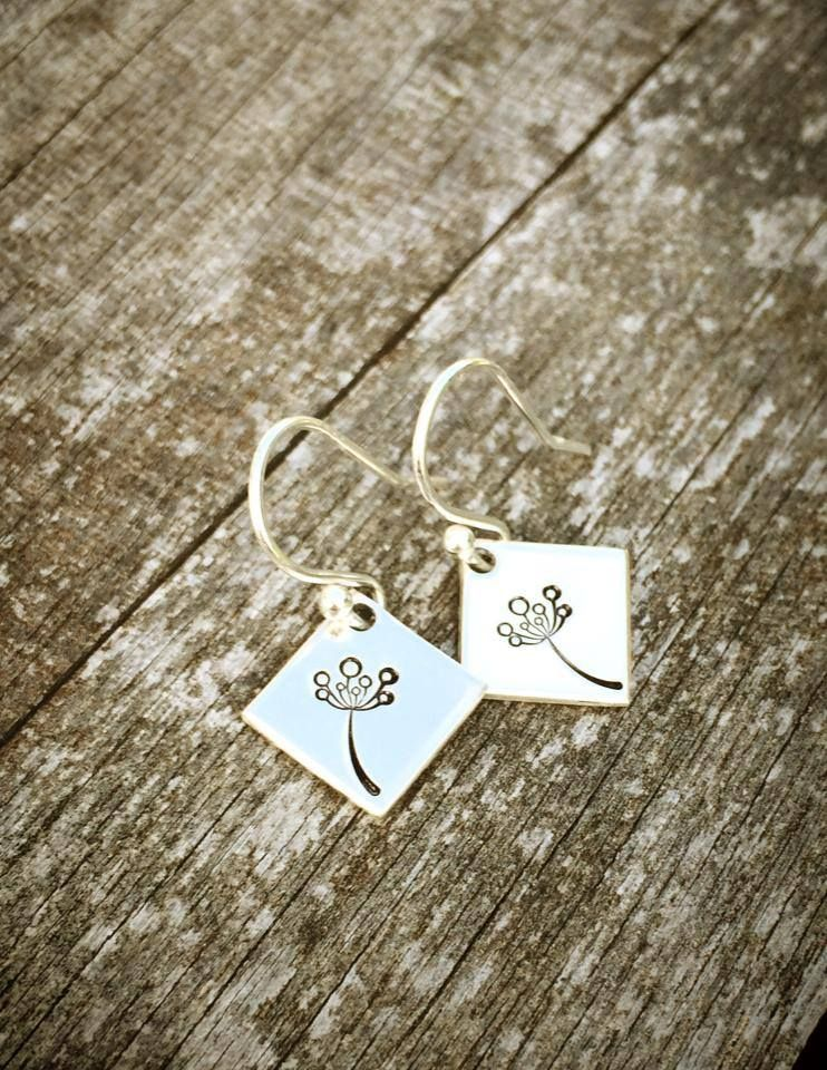 Square hand stamped earrings - The Supermums Craft Fair