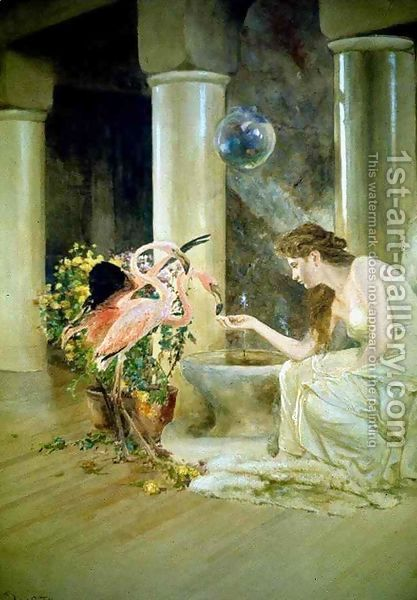 Feeding The Flamingos Louis Comfort Tiffany Flamingo Painting